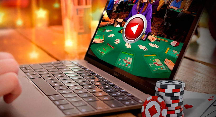 A person using online casino on his laptop