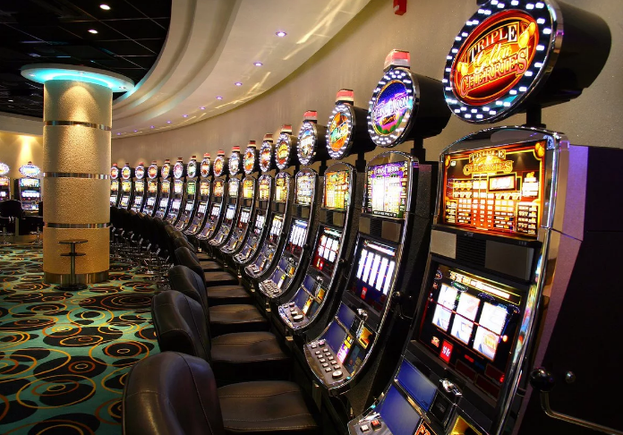 Turned on slot machines with games on the screen